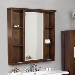 None - Drake American Birch Wood Dark Mahogany 35-inch Square Medicine Cabinet - This Drake ...