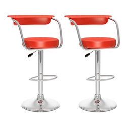 Sonax - Sonax CorLiving Open Back Adjustable Bar Stool in Red Leatherette (Set of 2) - Sonax - Bar Stools - B157UPD -Add spice to any bar or kitchen island with the barstool featuring a round seat and a stylish curved backrest. Comfortable foam covered with Soft Red leatherette upholstery, chrome arm rests, chrome gas lift and chrome support give this chair a smart comfortable look. The contemporary design will accent any decor setting while offering the option to adjust to variable bar heights with ease. A great addition to any home!