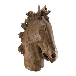 Zeckos - Horse Head Sculpture Distressed Wood Finish Horse Bust Statue - The pure power and grace of one of nature's most admired animals is showcased in this cast resin rendering that shows off this beautiful steed's elongated neck, gentle eyes and you can almost feel the breeze blowing back its magnificent mane Perfect for display on an art pedestal or tabletop in the entryway, family room or even at the office, this 23.5 inch high, 18 inch long, 6.5 inch wide (60 X 46 X 17 cm) horse head statue is remarkably hand-painted to look just like carved distressed wood. This sculptural horse bust statue is an amazing addition to homes with a Western theme, or the home of an equestrian or horse lover, and it makes a wonderful gift sure to be admired