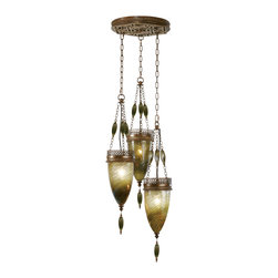 Fine Art Lamps - Scheherazade Green Glass Pendant, 608640-1ST - Let this trio of handblown baskets strung on delicate chains cast its magical spell on your space. Note how the aged bronze finish of the intricate metalwork complements the rich hues of the glass.