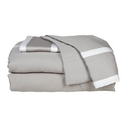 Blissliving Home - Grace Sheet Set, King - For understated elegance, bedeck your bed in gray. This 300 thread count sheet set features striping in a lighter tone — all you need to add a subtle accent.