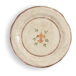 Arte Italica - Medici Salad/Dessert Plate - The perfect start and end to a meal! Serve your guests the Italian way with these beautiful hand-painted plates. They're made by hand in Italy, so you'll notice slight variations in color and size. Each is decorated with a vine motif and fleur-de-lis in saturated hues of green, blue and orange.