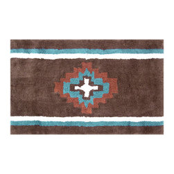 Veratex - Pueblo 20 x 33 Bath Rug - This Pueblo bath rug is a unique and modern rug which displays a traditional Native American pattern in gorgeous colors. The center is adorned with a large medallion for an intriguing touch to any bathroom decor.