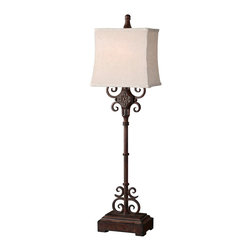 "Uttermost - Uttermost Cubero Lamp 8 x 11 x 38.25"", Rust Brown - Distressed rust brown finish with black undertones. The rectangle, semi bell shade is an off white linen textile with natural slubbing.Designer: Billy MoonWattage: 100WDimensions: 8"" depth by 11"" width by 38.25"" heightMaterial: metal/MDF"