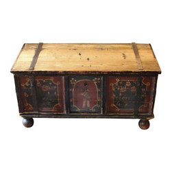 Pre-owned 19th Century European Blanket Chest - Wonderful hand painted 19th Century European chest c.1840's. This piece makes a charming blanket or hope Chest, coffee table or even log box. Use your imagination for this timeless trunk. Old world charm for your modern interior. An absolutely fabulous chest with hand forged iron hinges.