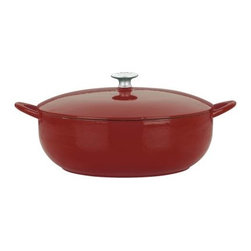 Mario Batali by Dansk Classic 7.5 qt. Stew Pot - Chianti - What do osso bucco, Texas chili, and beef bourguignon have in common? All cook perfectly in the Mario Batali by Dansk Classic 7.5 Sq. Stew Pot in Chianti. This stew pot wraps the hard-working properties of cast iron in a sizzling chianti red enamel - pretty enough to go from oven to table. Not only is it safe for gas, electric, induction, or ceramic-top stoves, it's unbelievably dishwasher-safe. Cook with abandon!