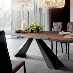 Cattelan Italia - Eliot Wood Wide Dining Table, 94-Inch | Cattelan Italia - Made in Italy by Cattelan Italia.A striking blend of natural and industrial materials, the 94-Inch Eliot Wood Dining Table features a sophisticated composition that integrates soft curves and sharp angles. An eye-catching steel base, available in embossed lacquer or satin stainless finish, draws the eyes upward to its apex: an uncommon live edge top that adds a touch of rustic style to a timeless modern design. Comfortably seats up to 10 people. Also available in 79-inch and 118-inch sizes. Product Features: Wood top with natural, irregular edges Sturdy steel base with embossed lacquered or satin stainless finish