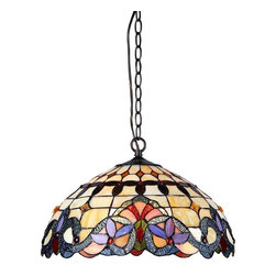Chloe Lighting - Cooper 2 Light Ceiling Pendant Fixture - Glass, metal & electrical components. Overall: 17.72 in. L x 17.72 in. W x 9.25 in. H (7.94 lbs.)COOPER, an exquisitely styled Victorian ceiling pendant fixture designed to reflect warmth to any room. Handcrafted with top quality materials the shade is made with intricately cut pieces of real stained glass and designed to enhance any decor.