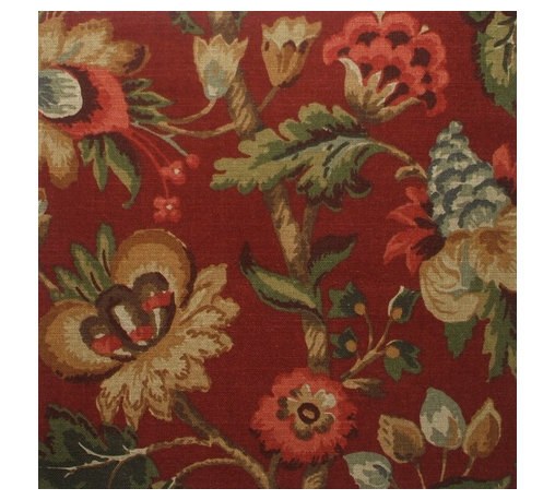 """Close to Custom Linens - 72"""" Shower Curtain, Unlined, Elizabeth Floral Cardinal Red - Elizabeth Cardinal is a lovely updated floral with shades of red, gray-blue, green, brown, gold and cream on a dark red background."""