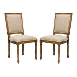Safavieh Landon Carved Dining Chairs - Oak - Set of 2 - The simple, European-style beauty of the Safavieh Landon Carved Dining Chairs - Oak - Set of 2 make them a lovely addition to your home. A natural oak finish provides a traditional look, while elegant carved details provide a stately appeal. The striking black upholstery softens the piece and adds chic contrast.About SafaviehSafavieh is a leading manufacturer and importer of fine rugs. Established in 1914 in the capital of Persian weaving masters, the company today brings three generations of knowledge and experience to its award-winning collections. In the United States since 1978, Safavieh has been a pioneer in the creation of high-quality hand-made rugs, a trend that revolutionized the rug business in America. Its collections range from the finest antique and historical reproductions to the most fashion-forward contemporary and designer rugs.