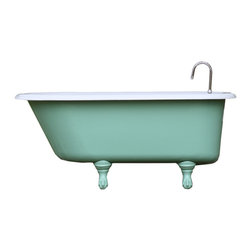 Consigned 4.5 ft Refinished Vintage Arsenic Cast Iron Porcelain Claw Foot Tub - 4.5 ft Refinished Vintage Arsenic Green & White Roll Top Cast Iron Porcelain Clawfoot Tub  + New Faucet, Drain & Overflow