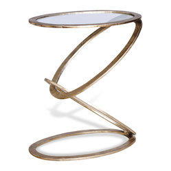 Kathy Kuo Home - Mobius Modern Sculptural Antique Silver Leaf Metal End Side Table - Contemporary, sculptural, and transitional- this floating circular silver leaf side table defies gravity and looks great used as a facing pair. Constructed from iron, and hand finished with silver leaf applique, the top boasts a glass surface, and is modern with a sculptural elegance.