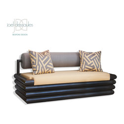 """Beauchamp Outdoor Sofa - Bauhaus inspired, the Beauchamp Sofa is hand-crafted from powder-coated steel, marine grade wood and outdoor quick dry foam. Features baseball stitching, adjustable glides and two 20"""" toss pillows with outdoor fill."""