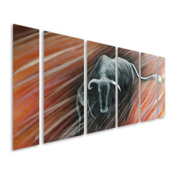 Pure Art - Black Western Longhorn Bull Aluminum Wall Art Set of 6 - The longhorn bull is an icon of the west, and especially prized in the bull riding circuit or rodeo! Such is the inspiration behind the Black Western Longhorn Bull Aluminum Wall Art Set of 6 panels.  This colorful metal wall art panel grouping is jumbo sized to make a big visual explosion on your wall, and is an ideal metal wall art choice for hanging in a southwestern, western, cabin, lodge or rustic country decor theme, among others.  You will appreciate the hand painted details that make this bull really come to life before your eyes on your modern wallMade with top grade aluminum material and handcrafted with the use of special colors, it is a very appealing piece that sticks out with its genuine glow. Easy to hang and clean.
