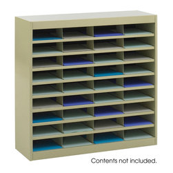 "Safco - E-Z Stor Literature Organizer, 36 Letter Size Compartments - Sand - Almost too E-Z! Quality-built, premium steel unit has a strong steel frame, shelves and dividers with a solid fiberboard back. Interlocking design of the shelves and dividers add extra strength to hold up to the heaviest load. Wide shelf fronts serve as generous label holders. Unit features 36 letter-sized compartments. Each compartment will hold up to 750 sheets. The organizer can be placed on the floor, desk or table, and can be mounted to a wall with optional Wall Mount Brackets (9200BL).; Features: Material: Steel; Color: Sand; Finished Product Weight: 75 lbs.; Assembly Required: Yes; Tools Required: Yes; Limited Lifetime Warranty; Dimensions: 37 1/2""W x 12 3/4""D x 36 1/2""H"