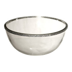 "Alan Lee Collection - Princess Collection 9"" Glass Bowl - This large bowl is 9"" in diameter and 5"" deep. Perfect for a salad, fruit salad or anything you can think of. Made of beautiful thick glass with hand applied cut crystal accents around the top outer edge"