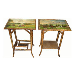 Pair of Antique English Regency Bamboo Tables w Hunt Scene Paintings w Dogs - This pair of Antique English Regency Bamboo tables with hunting scenes would add a whimsical touch to your living room. Plus, they would be useful for TV dinners in front of reruns of Downton Abbey!