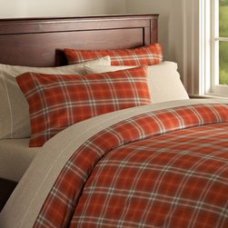 Pineland Plaid Organic Duvet Cover & Pillowcases - Classic plaid is updated with tangerine in this bedding.