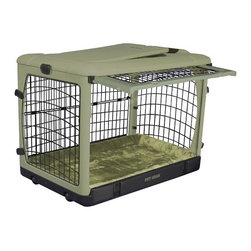 "Pet Gear - Deluxe Steel Dog Crate in Sage - Features: -Top, front and side doors for easy access. -Folds flat for storage. -Sets up in seconds without tools. -Heavy gauge curved steel panels. -Wheels and pull handle make moving easy. -Heavy-duty plastic top holds up to 100 lbs.. -Fits in the backs of most SUVs and vans. -Includes fleece/nylon crate pad. -Includes crate carrying bag. -Available in Brown, Lavender, Ocean Blue, Sage, Pink and Tan. -Small and medium sizes also available separately in Pink and Ocean Blue. SizeDimensionsSuggested BreedsSmall21"" H x 18"" W x 26"" LDachsund, West Highland Terrier, Pembroke Welsh Corgi, Schipperke, Pug, Large CatMedium27"" H x 24"" W x 36"" LBeagle, Boston Terrier, Brittany Spaniel, Chinese Shar-Pei, Chow ChowLarge31"" H x 28"" W x 42"" LSiberian Husky, Dalmation, Golden Retriever, Boxer, Collie"