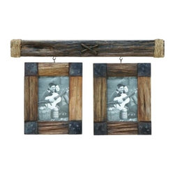 "BZBZ35720 - Wooden 14"" Photo Frame with Metallic Trinkets on The Edges - Wooden 14"" Photo Frame with Metallic Trinkets on The Edges. Designed with two photo frames, this beautiful wooden Photo Frame makes an ideal accessory for displaying picture perfect memories. Made from wood of high quality, this photo frame is long lasting and durable. The corners of each photo frame are augmented with metallic plates that give it a decorative effect and enhance the overall design. It comes with a dimension of 14""H x 23""W x 2""D."