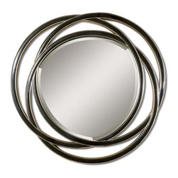 """Uttermost - Uttermost Odalis Entwined Circles Black Mirror 14522 B - This unusual mirror features a frame made of three entwined circles with a matte black finish with silver leaf inner and outer edges. Mirror has a generous 1 1/4"""" bevel."""