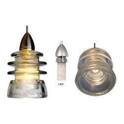 Railroadware - LED Insulator Light Pendant - Armstrong - The Clear Armstrong 53 glass insulator with WAC Pendant Lighting LED fixture