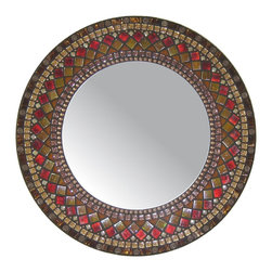 Heirloom Collection Mosaic Mirrors - Custom glass mosaic mirror in brown, copper, amber, and red color scheme.  Materials used include stained glass, copper metal beads, and four different varieties of glass mosaic tile.  Custom sizes and color schemes available;  price varies upon size.