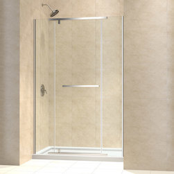 """Dreamline - Vitreo-X 46 to 46 3/4"""" Frameless Pivot Shower Door, Clear 3/8"""" Glass Door - The Vitreo-X shower door delivers a modern frameless design for the high end look of custom glass at an incredible value. The elegant pivot mechanism provides a flawless operation, while premium 3/8 in. thick tempered glass delivers a rich look. Smart wall profiles allow installation adjustability for out-of-plumb walls. Bring on the style with the impressive look of a Vitreo-X shower door."""