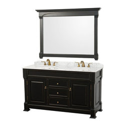 Wyndham Collection - Double Vanity Set - Includes matching mirror, natural stone counter and backsplash with porcelain sinks. Faucet not included. Beautiful transitional styling. White under mount sink. White Carrera marble top. Floor-standing linen tower. Hand carved and stained cabinet. Mirror glass thickness: 1 in.. 8 in. widespread three hole faucet mount. Plenty of storage space. Engineered to prevent warping and last a lifetime. Highly water-resistant low V.O.C. finish. Twelve stage wood preparation, sanding, painting and hand-finishing process. Fully extending side-mount drawer slides. Concealed door hinges. Two doors and three deep doweled drawers. Metal hardware with antique bronze finish. Warranty: Two years. Made from environmentally friendly, zero emissions solid oak hardwood. Antique black finish. Vanity: 60 in. W x 23 in. D x 35 in. H. Mirror: 55 in. L x 41 in. H (65 lbs.). Cabinet weight: 192 lbs.. Counter weight: 97 lbs.. Sink weight: 13 lbs.. Care InstructionsA new edition to the Wyndham Collection, the beautiful Andover bathroom series represents an updated take on traditional styling. The Andover is a keystone piece, with strong, classic lines and an attention to detail.