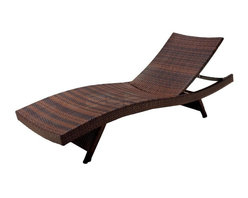 Best Selling Home - Outdoor Wicker Chaise Lounge in Brown - Folding outdoor wicker chaise lounge. Multicolor Brown wrapped with PE wicker. Weather resistant. Adjustable back and folding legs so chairs can be stacked easily for storage. 30-Day manufacturer's warranty. 79.53 in. L x 27.56 in. W x 13.78 in. H