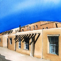 """Acoma Street - Original Watercolor Painting - Adobe houses at the Pueblo of Acoma.. The """"Santa Fe or Pueblo style"""" was based on these and other pueblos in New Mexico."""