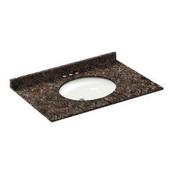 LessCare - 37x22 Tan Brown Granite Vanity Countertops - 4 Faucet Spread - *Condition: New
