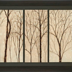 Paragon Decor - Graceful Trees Artwork - Three hand painted oil panels are mounted on a dark wood finish board and frame.