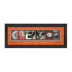 College Letter Framed Wall Art - Clemson University - 20W x 8H in. - This College Letter Framed Wall Art - Clemson University - 20W x 8H in. makes a fun graduation gift. It's beautifully framed and matted pictures of spots on campus spell out Clemson. The Clemson orange matting features a scrolled design, a clear glass front protects, and a black vinyl-wrapped engineered wood frame brings it all together. This framed print includes Clemson University script, details of where each picture was taken, and comes ready to hang. Go Tigers!