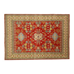 Manhattan Rugs - New Unique Tribal Kazak 8' X 11' Hand Knotted Red Wool Rug Mesa Collection H3669 - Kazak (Kazakh, Kasak, Gazakh, Qazax). The most used spelling today is Qazax but rug people use Kazak so I generally do as well.The areas known as Kazakstan, Chechenya and Shirvan respectively are situated north of Iran and Afghanistan and to the east of the Caspian sea and are all new Soviet republics. These rugs are woven by settled Armenians as well as nomadic Kurds, Georgians, Azerbaijanis and Lurs.  Many of the people of Turkoman origin fled to Pakistan when the Russians invaded Afghanistan and most of the rugs are woven close to Peshawar on the Afghan-Pakistan border.  There are many design influences and consequently a large variety of motifs of various medallions, diamonds, latch-hooked zig-zags and other geometric shapes. However, it is the wonderful colors used with rich reds, blues, yellows and greens which make them stand out from other rugs. The ability of the Caucasian weaver to use dramatic colors and patterns is unequalled in the rug weaving world. Very hard-wearing rugs as well as being very collectable.