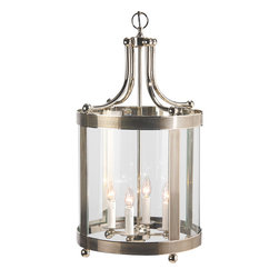 """Inviting Home - Polished Nickel Lantern - lantern in polished nickel finish 15-1/2"""" x 30""""H Solid cast brass round lantern with four lights. Lantern has curved glass and polished nickel finish. This lantern is for candelabra bulbs only; max. 60 watts each bulb."""
