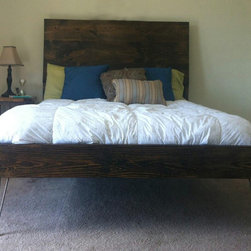 James+James Beds - James+James queen sized Steel Leg Raised Wood Bed and Headboard in our Dark Walnut stain.
