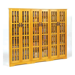 Leslie Dame - Six-Door Mission Media Cabinet w Glass & Pane - Color: OakPictured in Oak. Have fully adjustable shelves allowing for storage of DVD's, CD's, Videocassettes, and Game Cartridges. Including hand-rubbed Oak Veneer, Tempered Glass and Antique finished Metal door pulls. Some assembly required. 61.75 in. H x 74 in. W x 9.5 in. DMultimedia Storage Cabinets has the rare combination of timeless design and high quality construction.