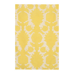 Thomas Paul Flock Corn-Cream Rug - 3' x 5' - Thomas' concept is simple The design concept is to mix unrelated historic design styles - art nouveau, 60's pop art, 70's minimalism, 18th Centurn Baroque - and reinterpret these disparate periods into a unique style with coordinated color palette that works with today's interiors. Price points are accessible to attract a stylish and design driven youth.