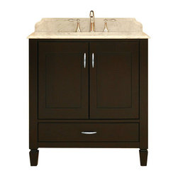 "Sunny Wood - Sunny Wood PT3021D Merlot / Ash Veneers Portraits 30"" Wood Vanity - 30"" Wood Vanity Cabinet from the Portraits Collection The Portraits collection from Sunny Wood features unique styling is both clean and classy. Inset door panels and tapered feet give this collection its style. Sunny Wood has taken select ash solids and veneers and paired it with a beautiful and durable Merlot finish. The Portraits collection also features dual mount drawer slides and brushed steel hardware to complete the appearance and add to the functionality. Product Details:  Dimensions: 30""W x 21""D x 34""H Constructed of Ash hardwoods 2 Door, 1 Drawer Design Inset doors and drawer fronts Full face frame construction Beautiful Merlot finish on dramatic ash veneers Dual side mount drawer slides Brushed steel hardware completes the tailored appearance Solid spade feet with adjustable leveling pads Ample interior storage Crated and shipped assembled Portraits vanities: 30"" (this model), 36"" (PT3621D), 48"" (PT4821D) Additional image is that of the 36"" version of this vanity, but still provides reference for design characteristics and finish."