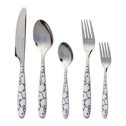 Q Squared NYC - Gramercy 20pc Set Black & White Swirl - Why should dishes get all the design fun? Finally, you can add a touch of whimsy and style to your table with this 20-piece set of chic flatware. Every meal will feel like a special event when you're dining with this playful pattern.