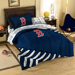 Northwest Co. - MLB Boston Red Sox Twin Bed in Bag Set - Make your room announce your love for Americas favorite pasttime sport.  Our MLB 5 piece Bed in a Bag Sets make an ideal central point for all your other team gear.  Whether game night or just another night for sleeping, the bold and large applique logo stands out against the solid color background and baseball stitching motiff, making quite the impression. This polyester/cotton blend set comes with 1 sham, 1 pillowcase, 1 flat sheet, 1 fitted sheet and 1 applique comforter.