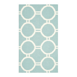 Safavieh - Dhurries Light Blue and Ivory Rectangular: 5 Ft. x 8 Ft. Rug - - This distinctive piece is both stylish and incredibly soft to the touch with bold rich colors that complement any room. Flat-woven by hand in India  - Pile Height: 0.25  - Construction: Flatweave  - Shedding is a normal occurrence and will reduce over time with frequent vacuuming. It is also recommended that you vacuum regularly to prevent dust and crumbs from settling into the roots of the fibers. AVOID DIRECT AND CONTINUOUS EXPOSURE TO SUNLIGHT. USE RUG PROTECTORS UNDER THE LEGS OF HEAVY FURNITURE TO AVOID FLATTENING PILES. DO NOT PULL LOOSE ENDS, CLIP THEM WITH SCISSORS TO REMOVE. TURN CARPET OCCASIONALLY TO EQUALIZE WEAR. REMOVE SPILLS IMMEDIATELY ; IF LIQUID, BLOT WITH CLEAN, UNDYED CLOTH BY PRESSING FIRMLY AROUND THE SPILL TO ABSORB AS MUCH AS POSSIBLE. FOR HARD TO REMOVE STAINS, PROFESSIONAL RUG CLEANING IS RECOMMENDED. STORE IN A DRY, WELL-VENTILATED AREA. USE OF A RUG PAD IS RECOMMENDED. Safavieh - DHU636C-5