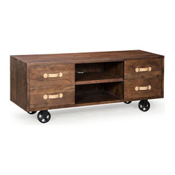 ZUO - Oaktown Low Console - Walnut offset by cream drawer pulls makes the Oaktown Low Console ...