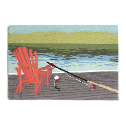 "Trans-Ocean Inc - Lakeside Water 30"" x 48"" Indoor/Outdoor Rug - Richly blended colors add vitality and sophistication to playful novelty designs. Lightweight loosely tufted Indoor Outdoor rugs made of synthetic materials in China and UV stabilized to resist fading. These whimsical rugs are sure to liven up any indoor or outdoor space, and their easy care and durability make them ideal for kitchens, bathrooms, and porches; Primary color: Blue;"