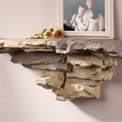 """Exposures - Faux Stone Shelf - Overview Introduce a beautiful natural element into your home with this extremely realistic faux stone shelf. Natural stone colors blend with many decorating styles, including cabin and Western environments. Faux stone ledge is perfect for displaying photo frames, plants and more.  Features Faux stone Natural stone colors Blends with many decorating styles Securely hangs from keyhole opening Designed just for Exposures   Specifications  Measures 26 1/2"""" long x 7 1/2"""" wide x 10"""" high"""