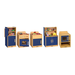 "Ecr4kids - Ecr4Kids Colorful Essentials Five Piece Play Kitchen Color: Blue 5 Pc Set - The 5 Pc. Play Kitchen includes a 2-door refrigerator, sink with basin, cupboard shelves stove and microwave. Stove has a see-through window and removable ""hot"" burner covers. Unit is big enough for multiple children to play simultaneously, and has plenty of storage for favorite toy foods and dishes. Available in a warm Maple laminate with primary colored sides that match all items in the Colorful Essentials product line. Style Notes:  Choose: Blue (BL), Red (RD), or Yellow (YE). Colors may vary and are subject to change without notice."