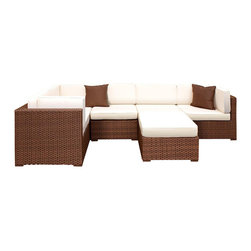 Amazonia - Bellagio 6 Pc Sectional Set w Off-white Cushions - Set includes Ottoman, 2 Middle Chairs, and 3 Corner Chairs. Aluminum and Synthetic Wicker frame. Free feron gard vinyl preservative for longest strap durability. It works great against the effects of air pollution salt air, and mildew growth. For best protection, perform this maintenance every season or as often as desired. Cushions are included. Dark Brown Wicker. Off-white Cushion. Great functionality. Water Repellent Polyester Cushions. Warranty: 1 year. Corner Chair: 32 in. W x 32 in. D x 27 in. H. Middle Chair: 28 in. W x 32 in. D x 27 in. H. Ottoman: 28 in. W x 28 in. D x 13 in. HGreat quality, stylish design patio sets, made of aluminum and synthetic wicker. Polyester cushion with water repellant treatment. Enjoy your patio with elegance all year round with the wonderful Atlantic outdoor collection.