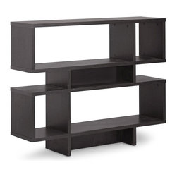 Wholesale Interiors - 4-Level Modern Bookshelf - Dark brown faux wood grain paper veneer. Wipe clean with a dry cloth. Warranty: 30 days limited. Made from engineered wood. Espresso finish. Made in Malaysia. Assembly required. Bigger shelf: 31.25 in. W x 11.38 in. D x 10.68 in. H. Smaller shelf: 9.88 in. W x 11.38 in. D x 10.68 in. H. Overall: 44 in. W x 11.38 in. D x 35.25 in. H (43 lbs.)