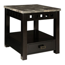 Standard Furniture - Standard Furniture Gateway Grey 1-Drawer End Table in Dark Chicory Brown - Impressive proportions and bold styling give Gateway Occasional Tables a dynamic contemporary personality.